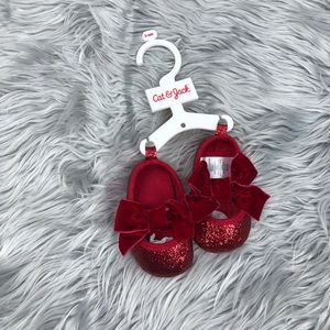 Cat & Jack glitter bow shoes 3-6 months baby